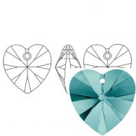 Blue Zircon 6228 Swarovski Crystal Heart Pendant 18mm PK1